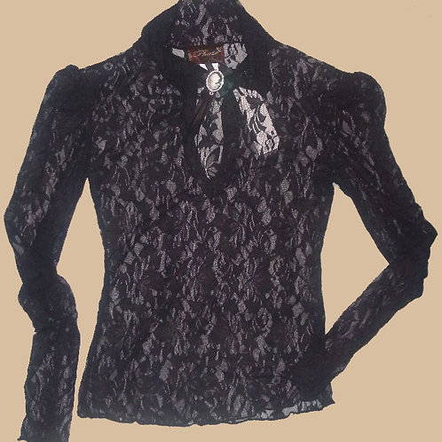 Elite Goth Cameo Long Sleeve Lace Blouse