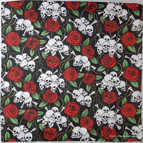 Bandana With Skulls & Roses
