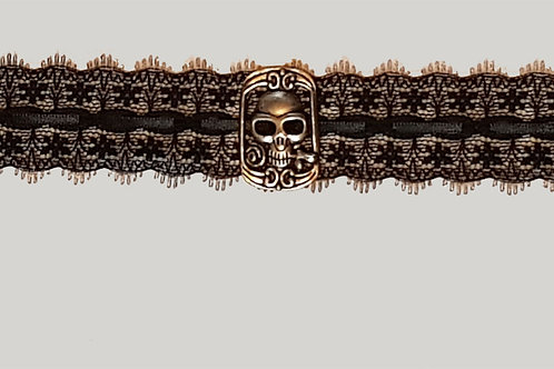 Lace And Black Ribbon Choker with Cartouche Skull