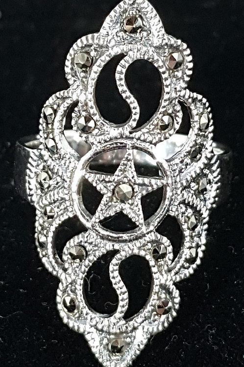 Long Decorative Pentacle  Ring