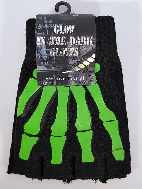 Green Skeleton Hand Glow In The Dark Fingerless Gloves