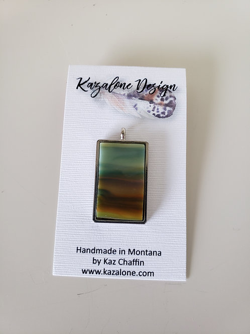 Turquoise, Brown and Orange Glass Pendant