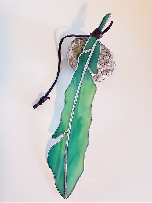 Turquoise, Green and Yellow Glass Feather