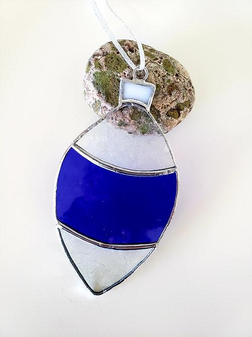 Cobalt Blue and Clear Gluechip Ornament