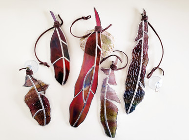 Purple and Pink Feather Suncatchers