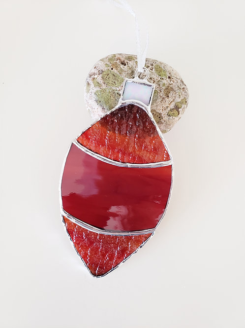 Red and Orange Streaky Ornament