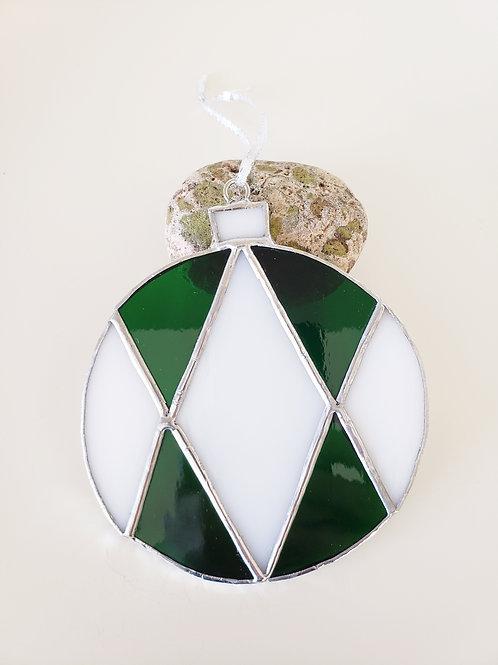 Green and White Diamond Ornament