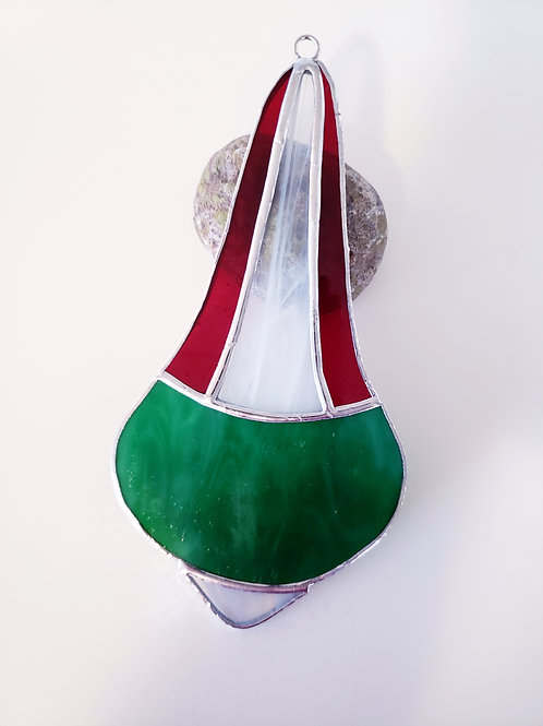 Green, Red and White Streaky Ornament