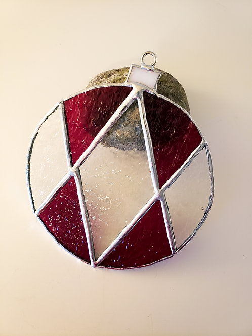 Textured Dark Red and Clear Ornament