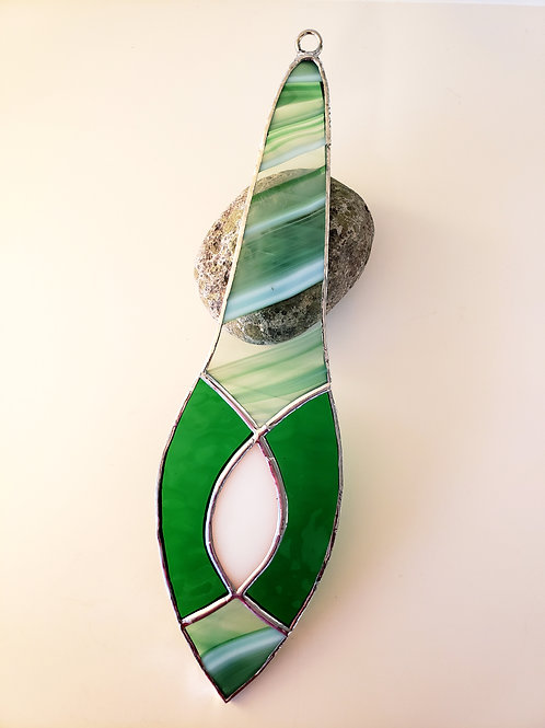Green, White and Clear Swirled Ornament