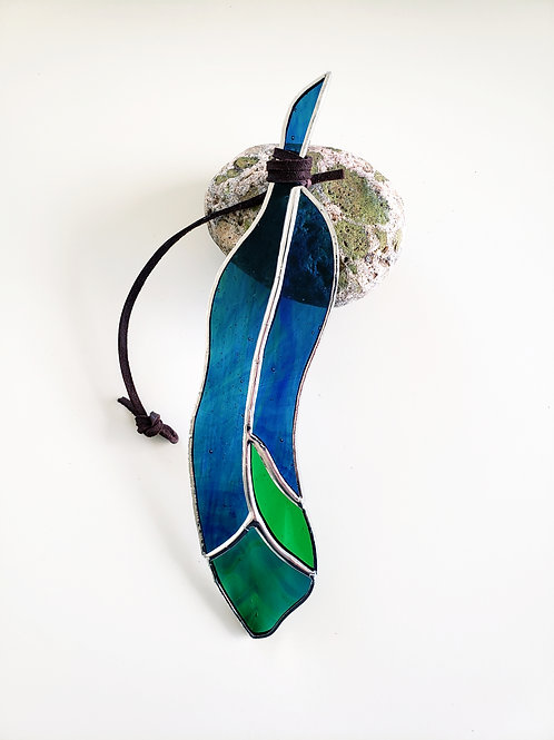 Blue and Green Glass Feather