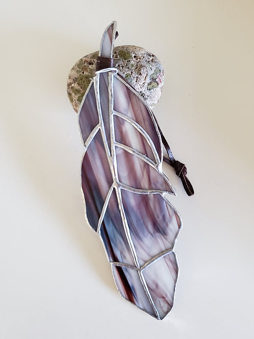 Dark Maroon and White Streaked Feather