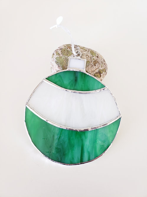 Green and White Circle Ornament