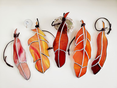 Red and Orange Feather Suncatchers