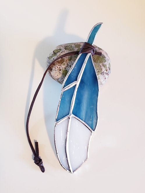 Turquoise Blue and White Feather