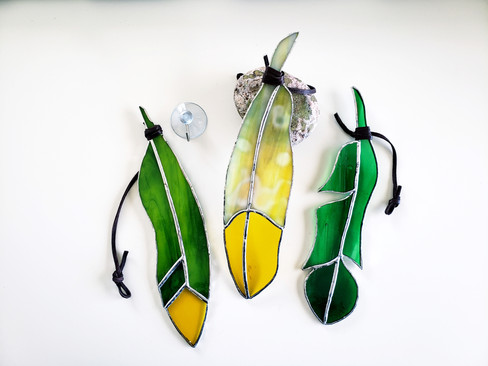 Green and Yellow Feather Suncatchers
