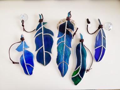 Blue Feather Suncatchers