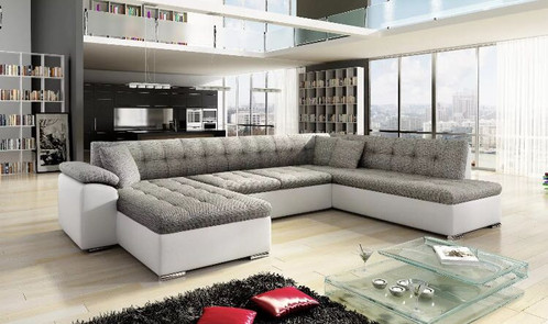 Large Corner Sofa Grey And White Or Black Leather Fabric Material Sizes On Picture
