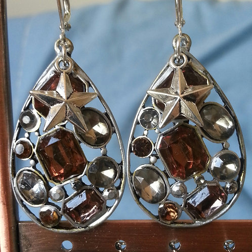 Large Silver Filigree Teardrop with 3D Star & Gems