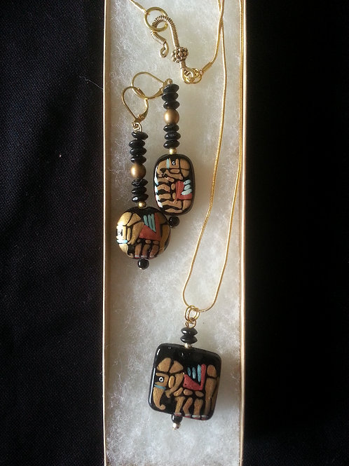 Gold & Black Elephants Necklace & Earring Set
