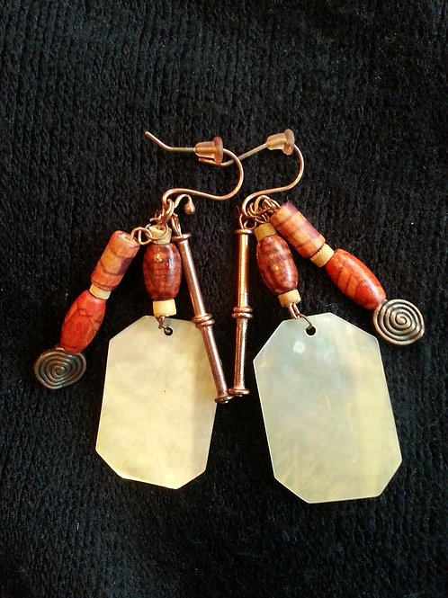 3-Strand Mother-of-Pearl, Afr. Wood, Copper - SOLD