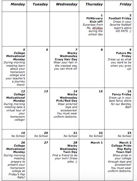 Funbruary Calendar
