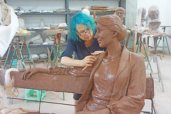 Sculptor Laury Virginia Woolf clay model of statue