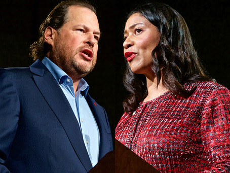 Benioff urges city, business leaders to back homeless tax measure in face-off with Breed