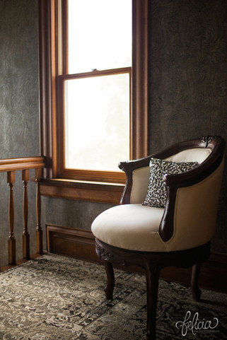 Historic victorian house with period furnishings at Eighteen  Ninety Event Space in Kansas City, Missour.   Photo by Felicia the Photographer.