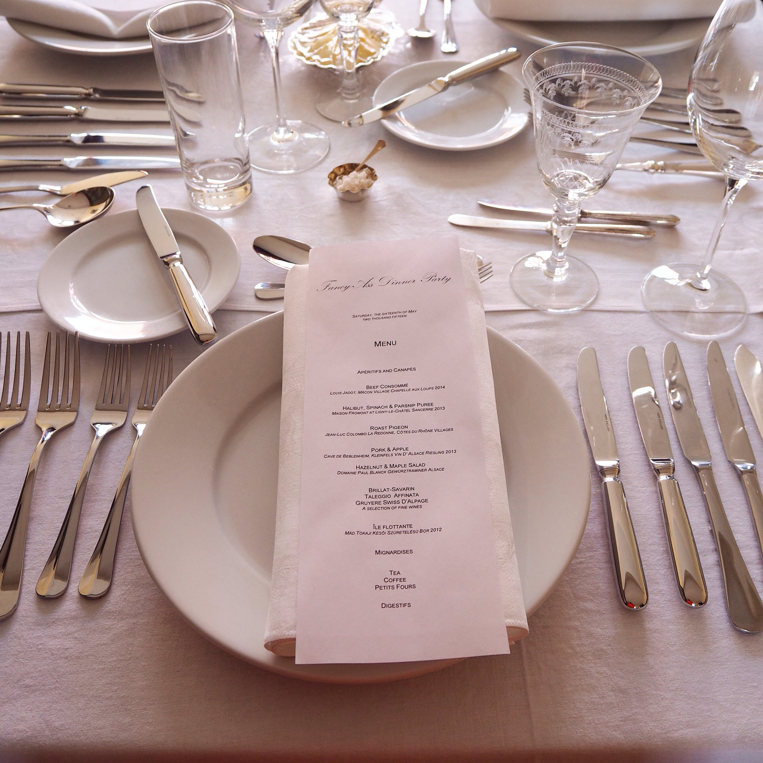 Full Table Setting with Menu