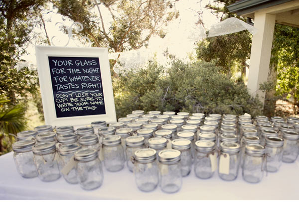 mason jars for drinks at wedding