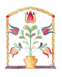 Folk Art Tulips in Vase