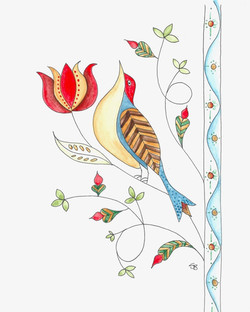 Folk Art Bird on Tulip