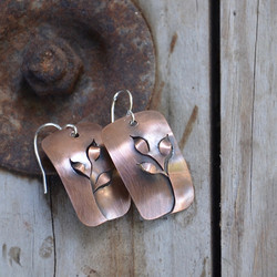 Dimensional Copper Vine Earrings