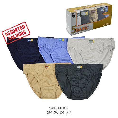 Crocodile- 5-Pcs Men's Mini Briefs/ Underwear (100% Cotton)