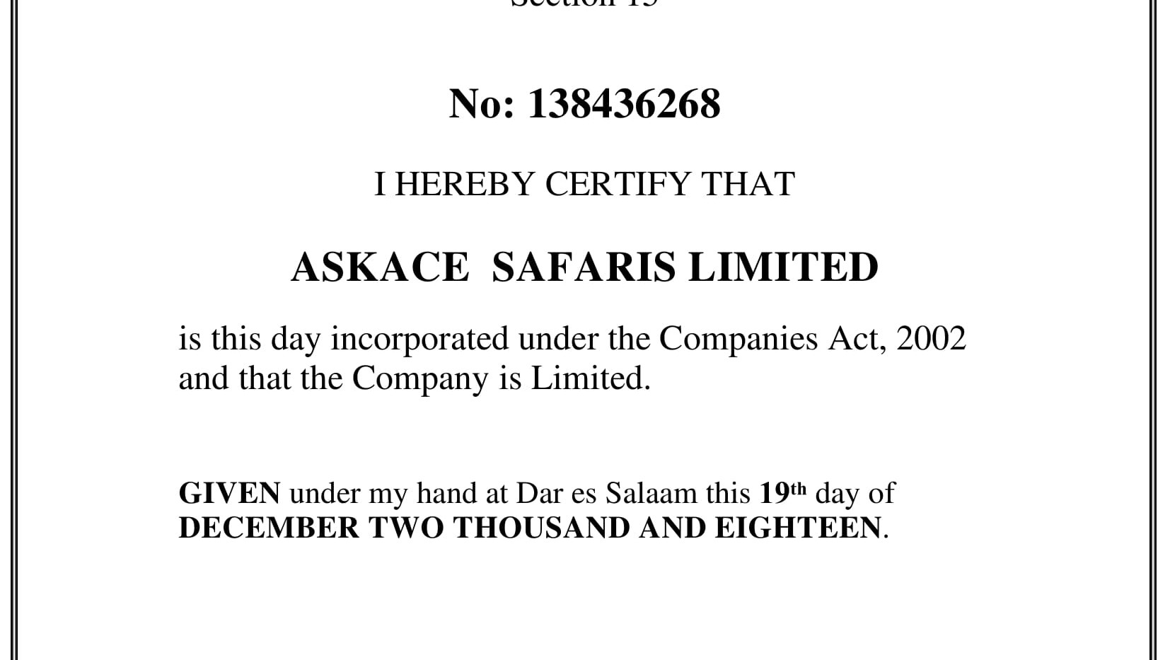 ASKACE SAFARIS LIMITED- CERTIFICATE OF I