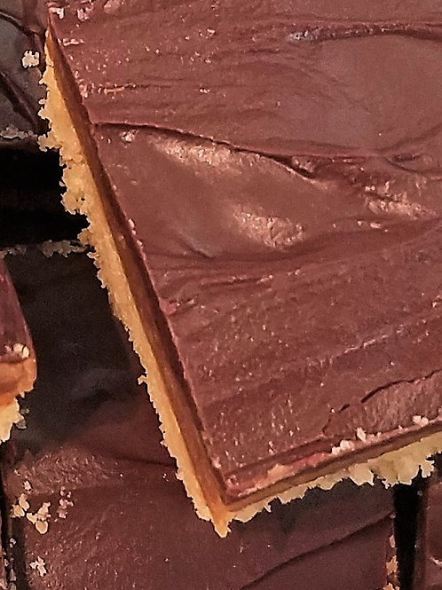 Shortbread Caramel Peanut Butter Bars by the keto bakery box
