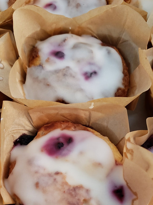 Blueberry Muffins w/Lemon Glaze (6) by the keto bakery box