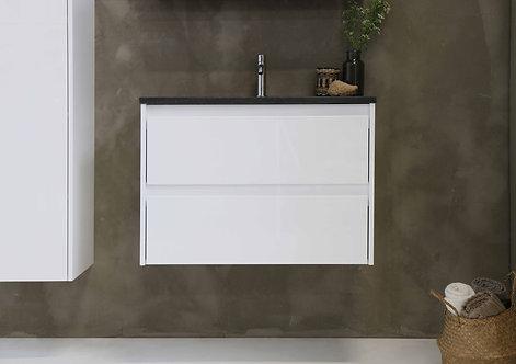 Proline elegant hardsteen wastafel met onderkast symmetrisch hoogglans wit 80 cm