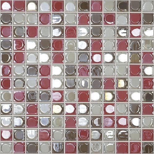 Aura Coral Blend glasmozaïek 25X25MM tegels