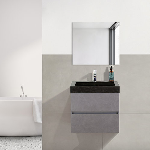 Badmeubel - 60 cm. - hardsteen wastafel - 1 kraangat - beton grijs