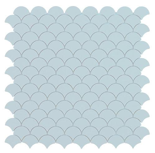 Nordic Light Blue Mat S visschub glasmozaïek 36X29MM tegels