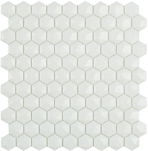 Matt White Hex Hexagon 3d Vidrepur mozaïek tegels