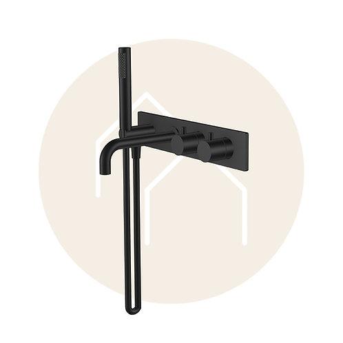 Style inbouw badthermostaat muur mat zwart (inbouw en afbouw deel)
