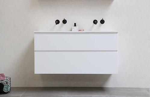 Proline badmeubel 120 cm. mat wit met polystone dunne wastafel mat wit