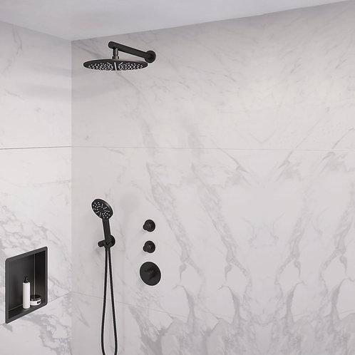 Brauer Black Edition thermostatische inbouw doucheset - 30cm - wand- rond