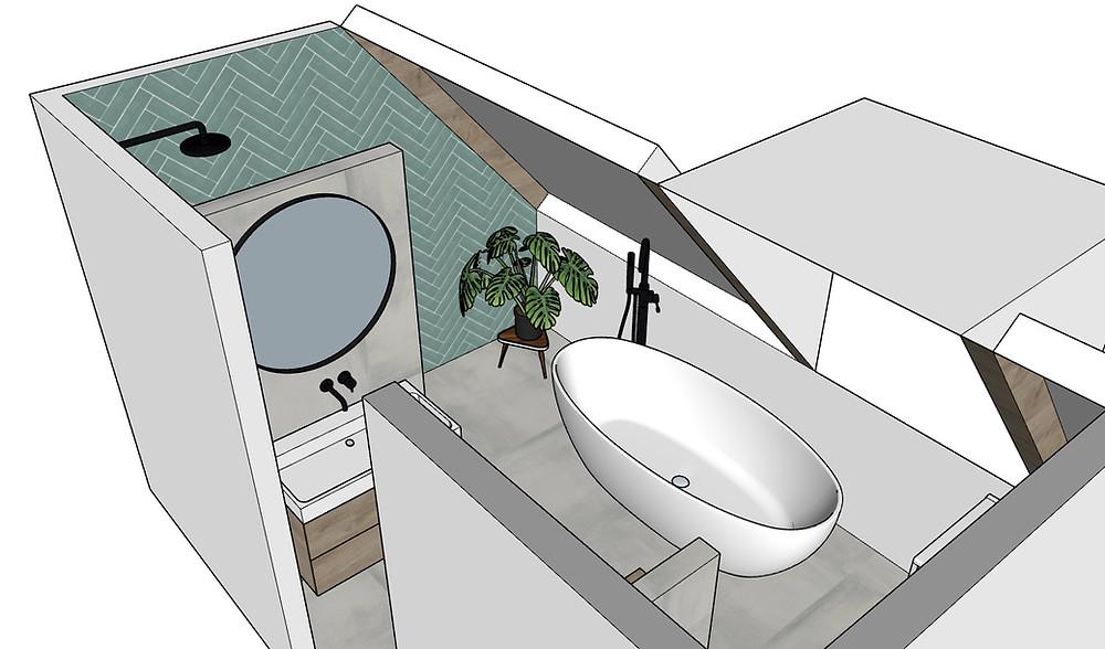 Badkamer met een schuine wand, visgraat tegels, vrijstaand bad en een grote ronde spiegel met zwarte rand