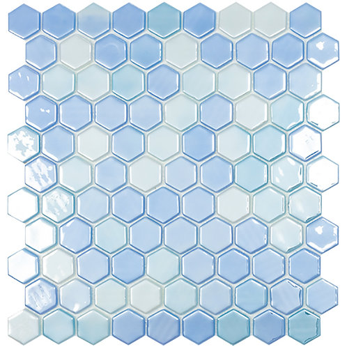 Lux Light Blue hexagon glasmozaïek 35X35MM tegels