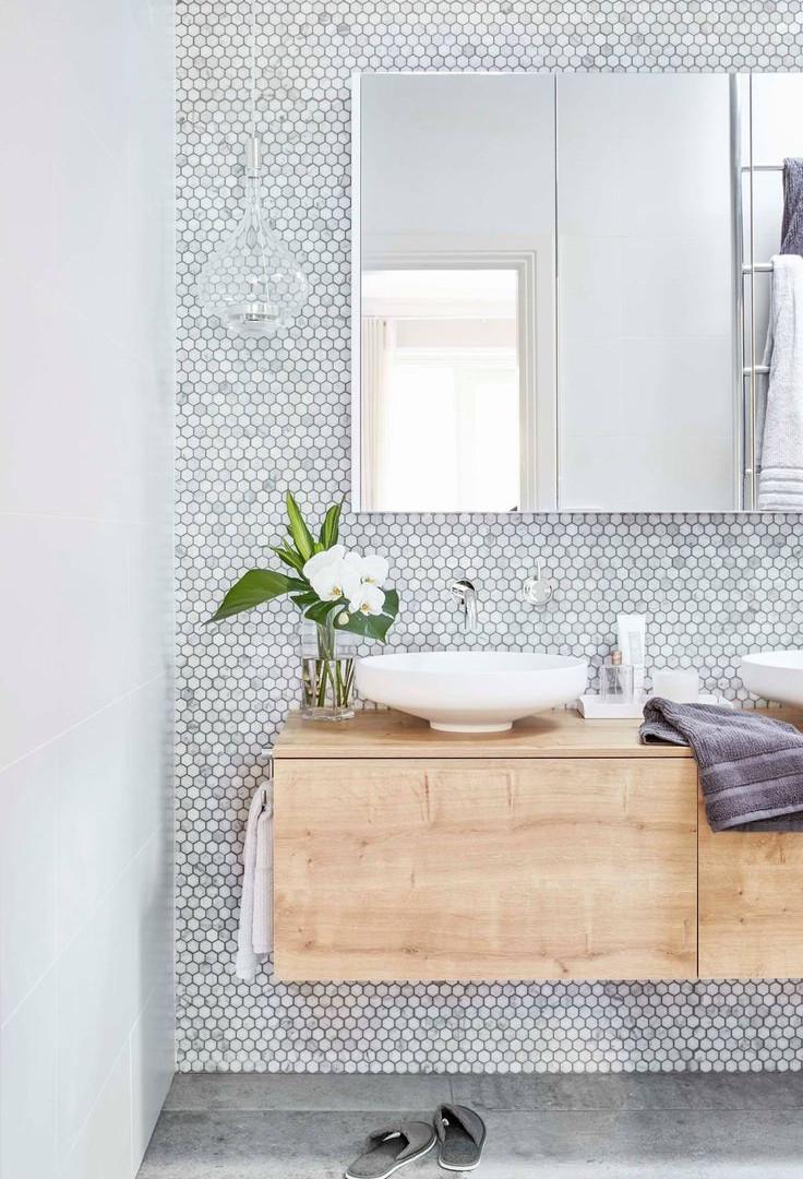 Scandinavische badkamer met kleine hexag