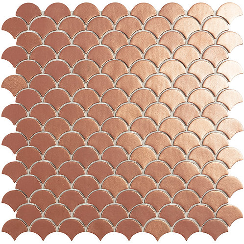 Magic Copper Visschub glasmozaïek 36X29MM tegels